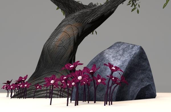 tree rock surrounding purple obj