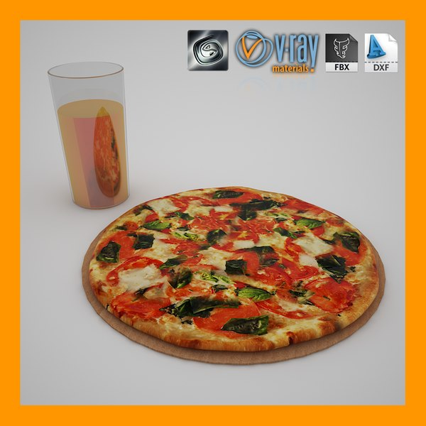 free pizza juice 3d model