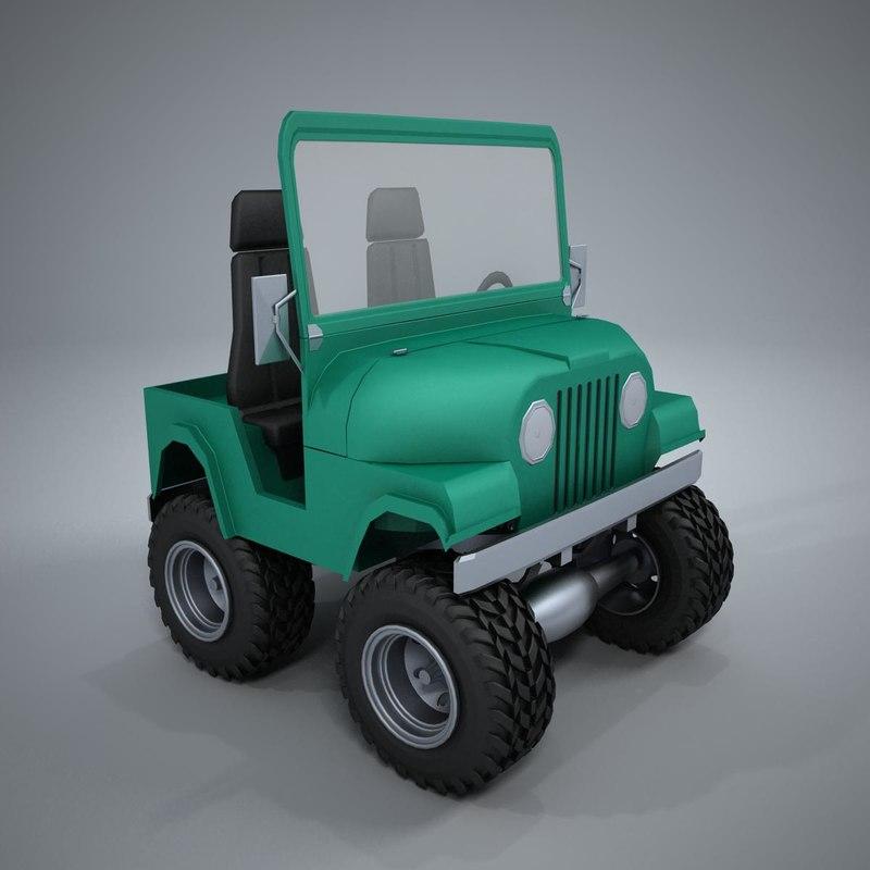 jeep car cartoon 3d model