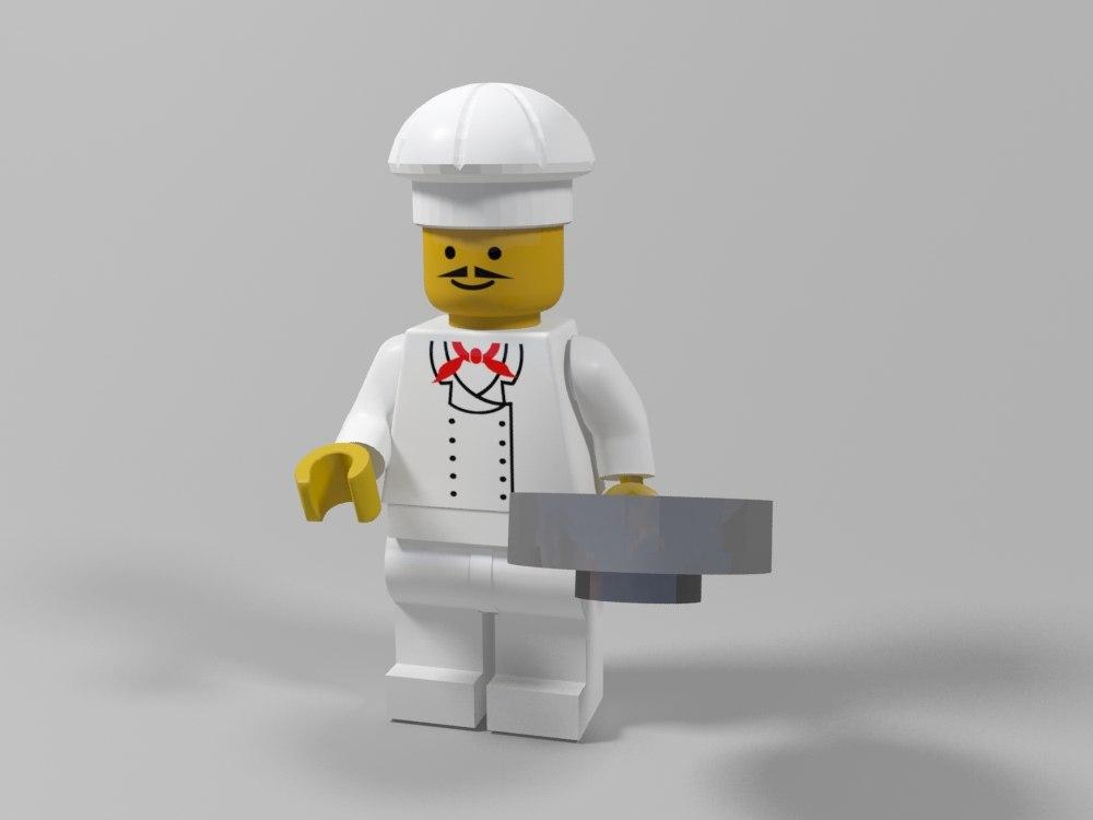 restaurant lego character 3d model