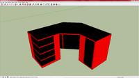 3d red gaming desk model