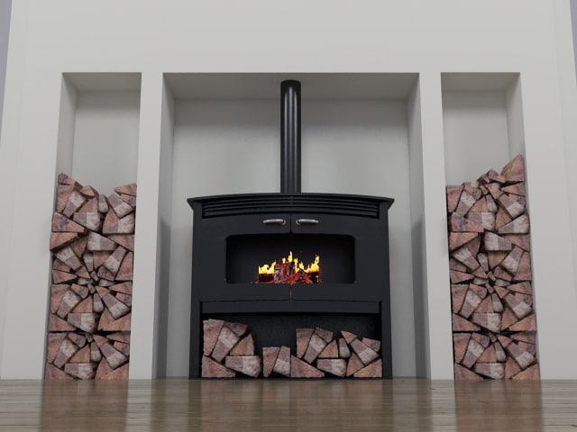 3d model wood burning stove