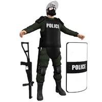 3d model riot police officer