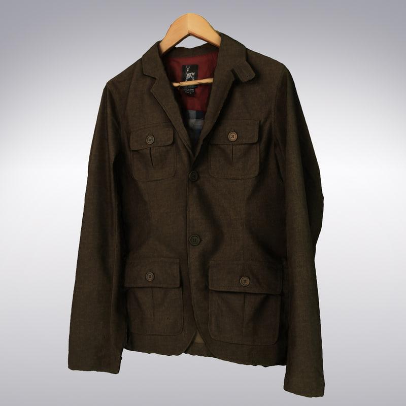 men s casual jacket 3d model