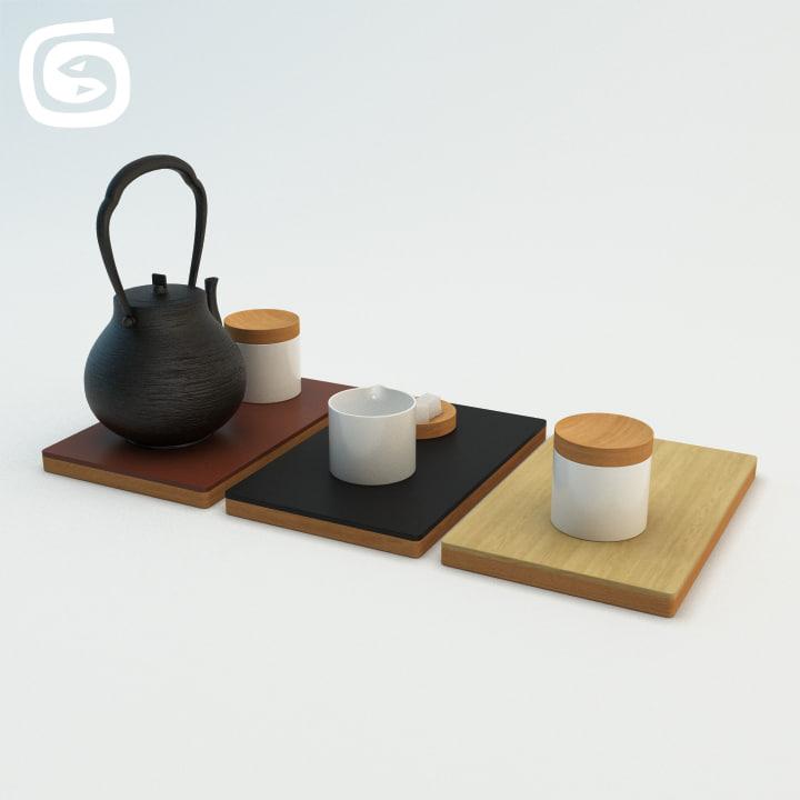 tea pot set 1 3d max