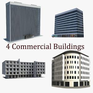 4 commercial buildings 3d model