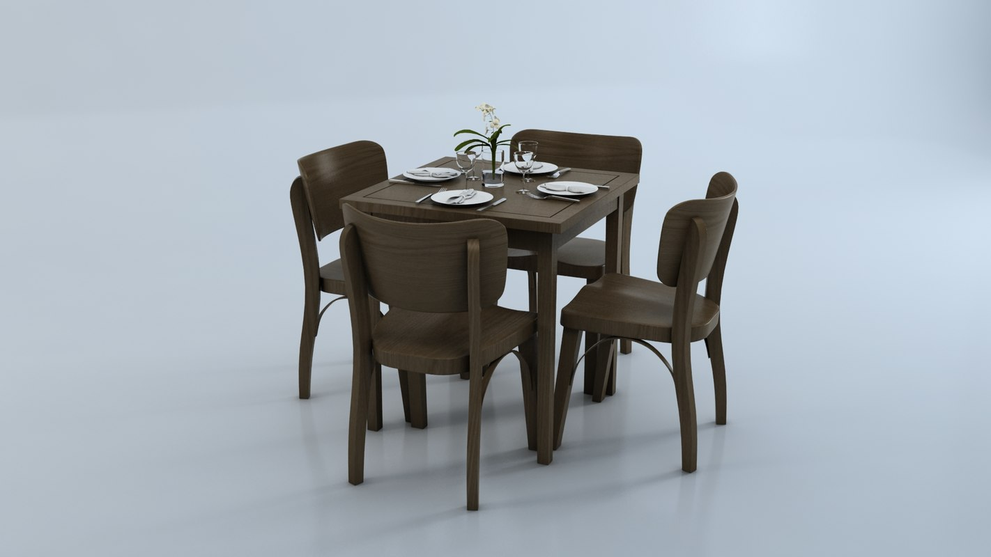 chair table glasses 3d model