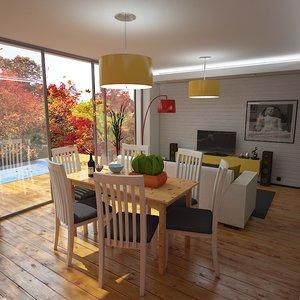 interior scene living dining room max