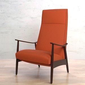 3d model milo baughman recliner 74