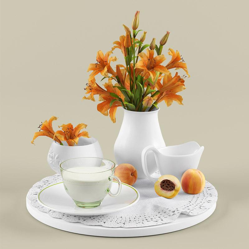 3d kitchen set lilies model