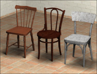 3d obj wooden chairs