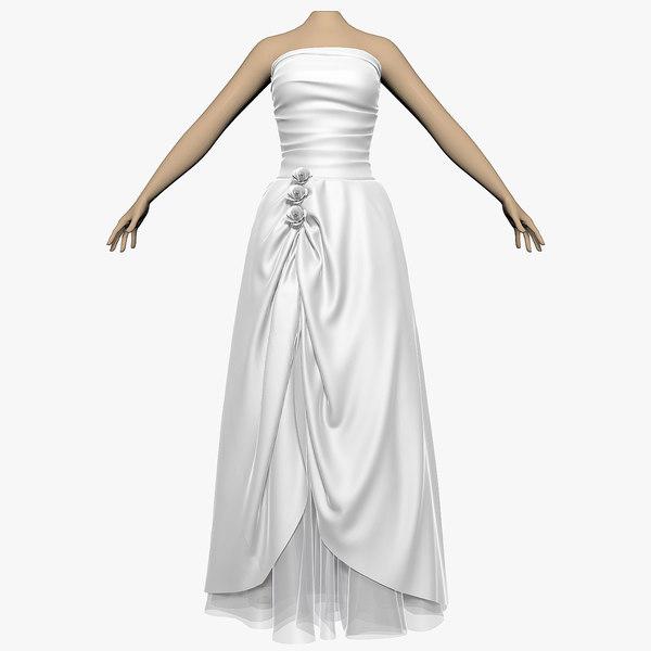 3d model wedding dress female shoes