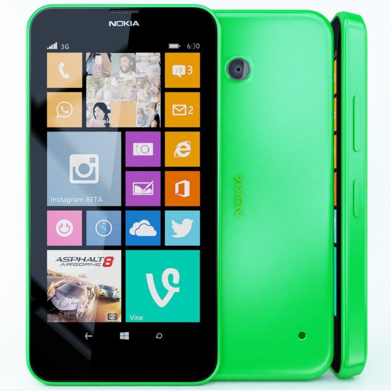 3d nokia lumia 630 green