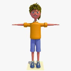 alex cartoon boy character 3d 3ds