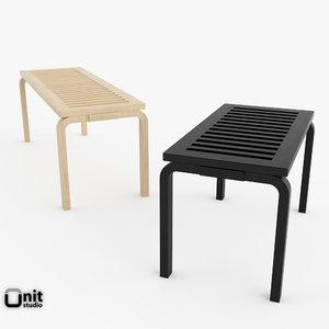 artek benches alvar aalto 3d max