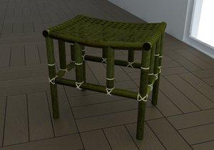 bamboo stool 3d model