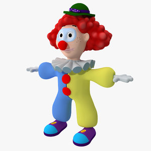 3d model cartoon clown rigged