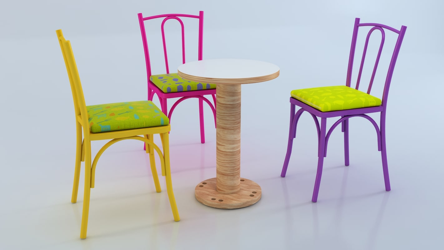 3d model wood chair table