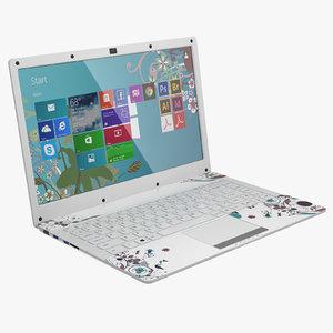 compact white 14 laptop 3d max