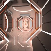 futuristic corridor interior scene 3d model