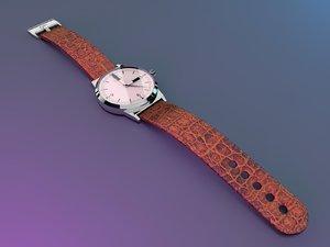 3d wristwatch alligator-skin strap tw