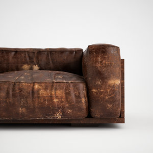 3ds max wrinkled leather sofa worn