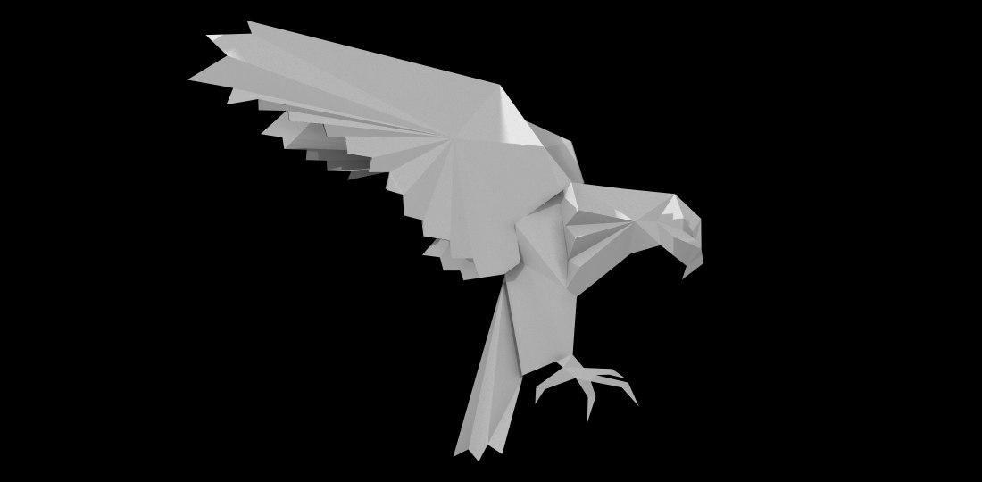 eagle origami obj