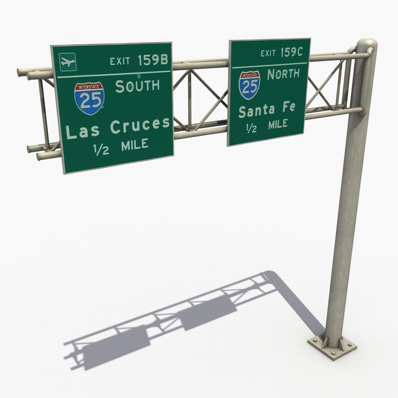 3d model highway signage