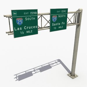 3d model highway signage