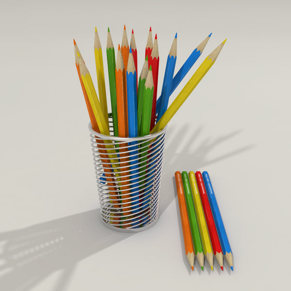 3d colored pencils model