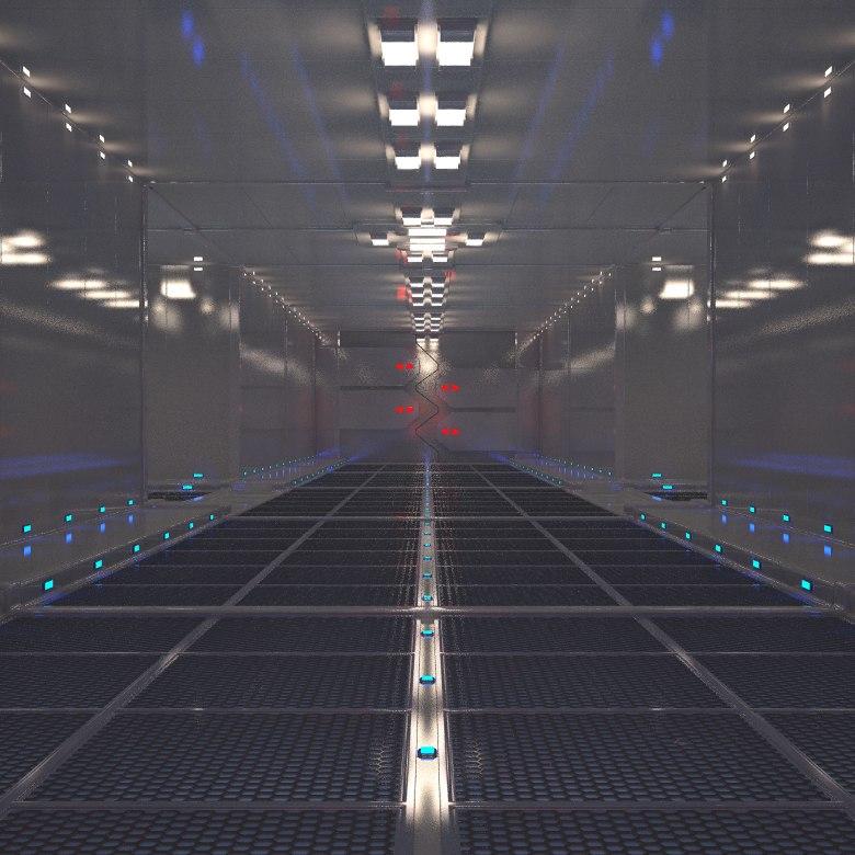 corridor doors industrial 3d model