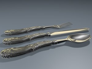 3dsmax vintage silverware knife fork