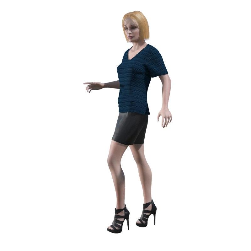 3d model of human girl woman