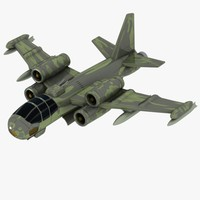 3d cartoon fighter aircraft model