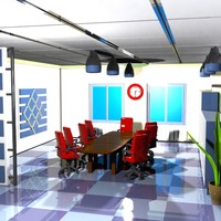 3d cartoon conference room