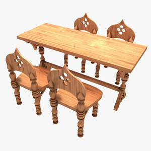 3ds max wooden chairs table arabic