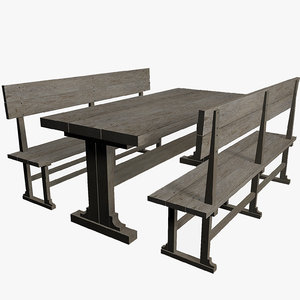 free wooden table chairs 3d model