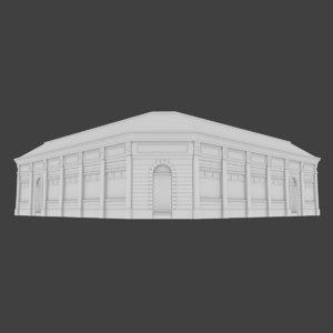 3d european building exterior interior model
