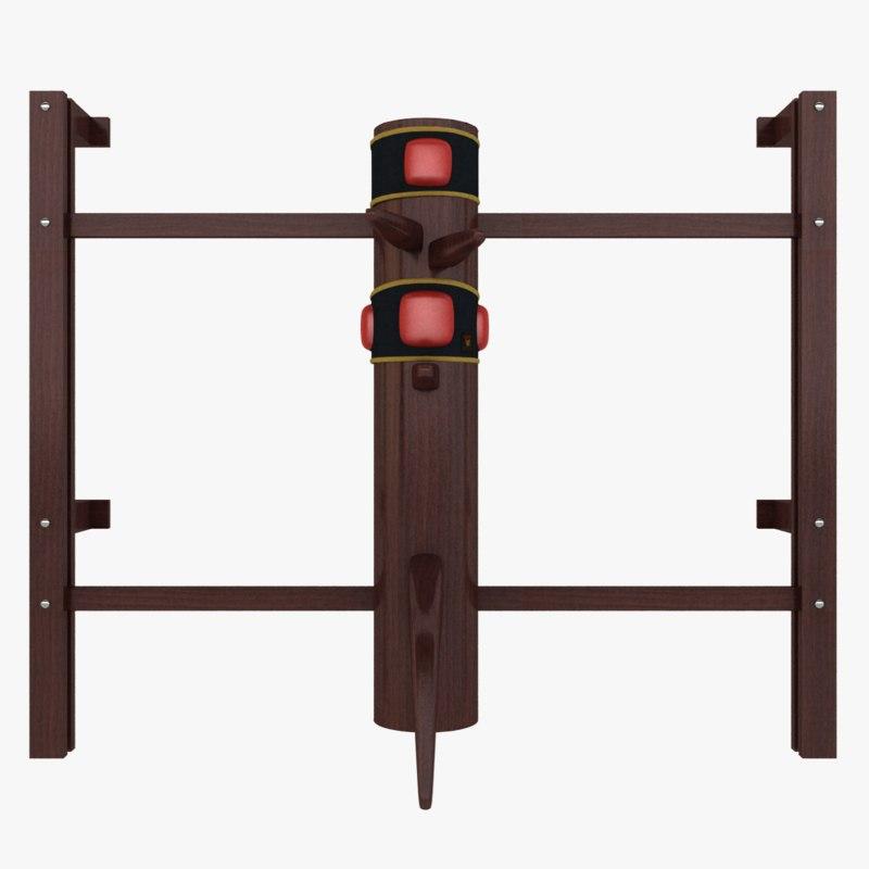 wooden dummy kung fu 3d obj