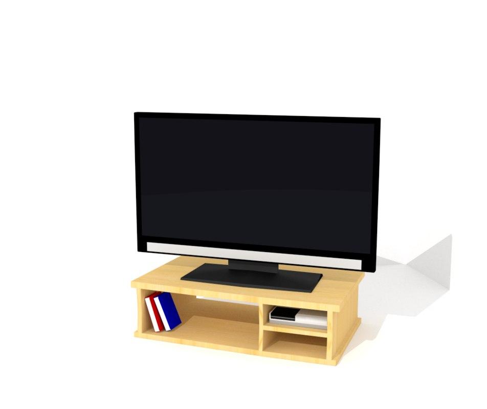 3d model 32 led tv table