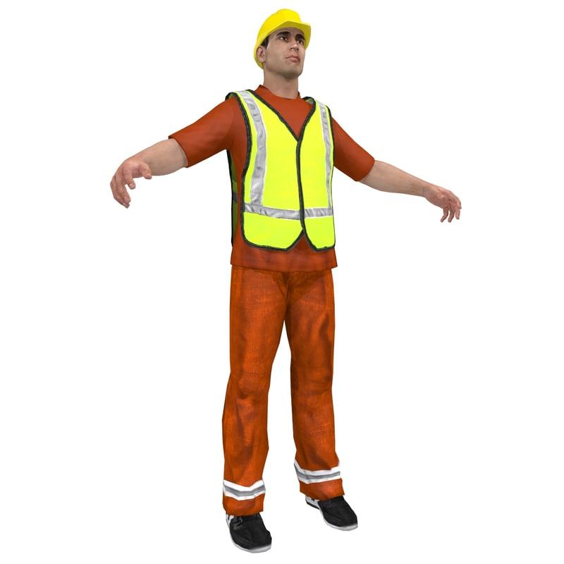 road worker man 3d model