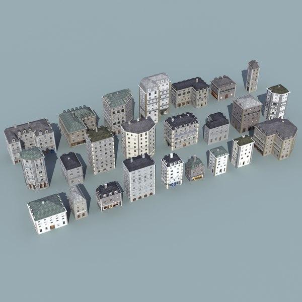 european city buildings 3ds