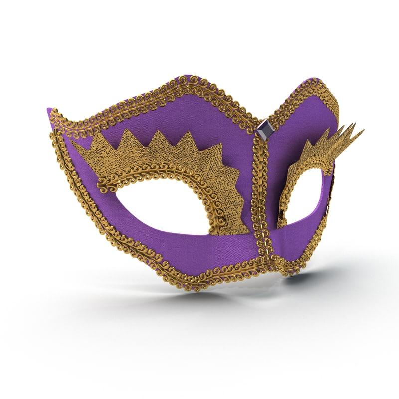 mardi gras mask 3 3d obj
