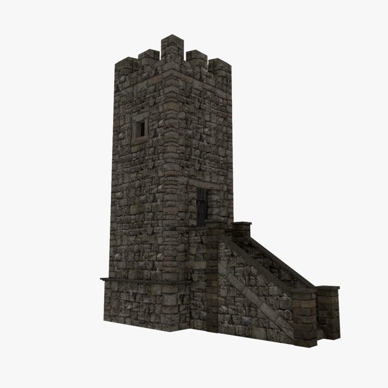 medieval stone tower obj