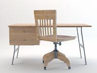 vintage work desk chair 3d model