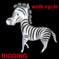 zebra walk cycle obj
