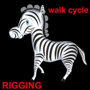 zebra walk cycle obj
