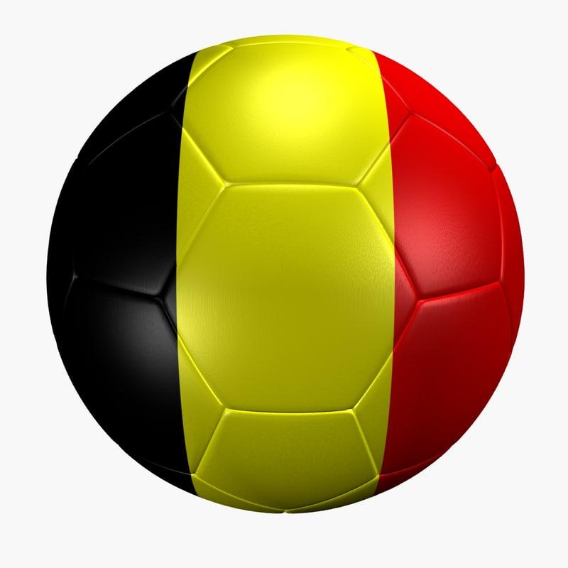 3d model soccer ball belgium flag