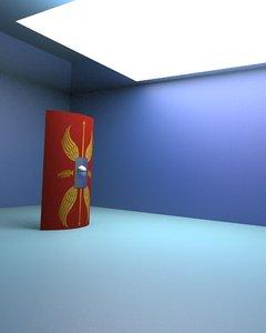 roman scutum shield 3d model