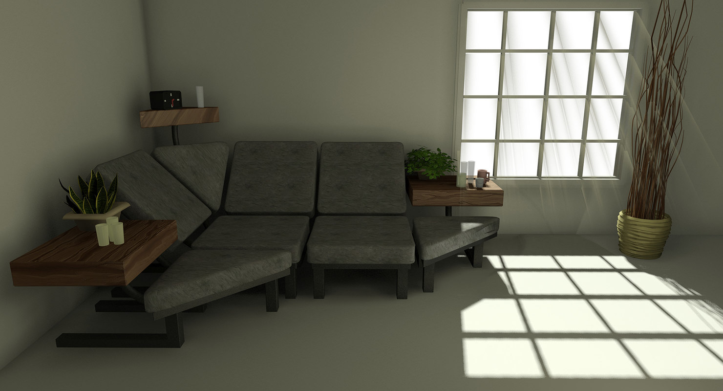 sofa room corner set 3ds